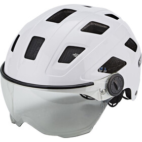 ABUS Hyban+ Fietshelm, cream white, clear visor